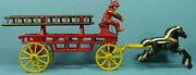 On Sale Old Cast Iron 3 Horse Fire Wagon 2 Ladders Authentic 11 1/2 Long T191