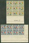 Paraguay 1945 Flags 40c And 1g Proof Blocks Imperf Vert.