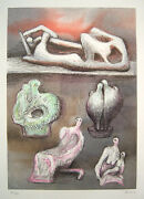 Henry Moore Signed 1981 Original Color Lithograph - Five Ideas For Sculpture