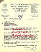 J.h. Levey - Typed Letter - Signed - Jewish Persecution - 1938 - Naziism