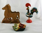 Lot Of 3 Wood Horse Napkin Holder Painted Rooster Portugal Clogs Holland  L3y24