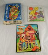 Lot 3 Vintage Childrens Puzzles United States Big Bird Mickey Mouse Club N3y22