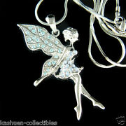 Blue Tinkerbell Made With Crystal Fairy Tinker Angel Necklace Jewelry