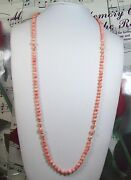 Genuine 5.5mm Natural Pink Coral Necklace 30 Inches.cn0026
