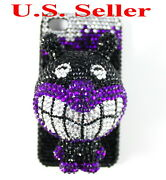 Cc4bd New Iphone 4 4s 4g 4gs S Black Dog Doggy Clear Cz Crystal Style Hard Case