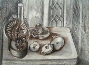Humphrey Spender Signed 1950 Original Ink And Conte Crayon Study For Still Life