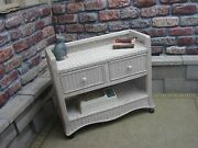 Brand New Real Wicker Town And Country Serving Cart In Antique Or Natural Finish