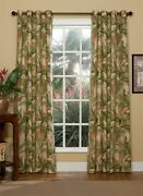 Tranquil Green/ivory/paprika Tropical Plant Lined Antique Brass Grommet Curtains
