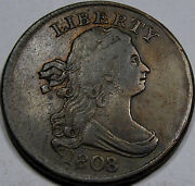 1808/7 Draped Bust Half Cent Nice Ef++..very Scarce To Rare Overdate Nice Coin