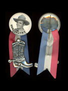 1950s Cowboy Western Gene Autry 1 3/4 Celluloid Pinback Button With Boot Charm