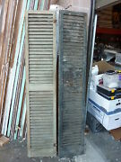 Pair Late Victorian Louvered House Window Shutters 78.5 X 15 16' Wide
