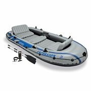 Intex Excursion Inflatable 5 Person Water Fishing River Boat Raft Set With Oars