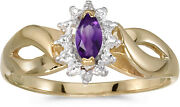14k Yellow Gold Marquise Amethyst And Diamond Ring Cm-rm1050x-02