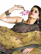Gold Cocktail Embroidered Fashion Dress - Latest Bollywood Indian Saree - 1 Size