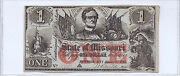 1862 State Of Missouri One Dollar Printed On A New Orleans Bank Check... Neat