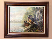 Joanna Lutz - Original Oil On Canvas Painting - Two Ducks And03995 - Beautiful Piece