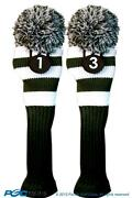 1 3 Classic Green White Knit Pom Golf Club Headcover Vintage Head Covers Set