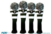 3 5 7 9 Classic Green White Knitpom Golf Club Headcover Vintage Head Covers Set