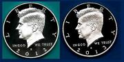 2012 S And 2013 S Silver Proof Kennedy Half Dollars- Gem Proof-two Coins