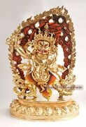 Gold Gilded With Face Painted Hand Carved 19.25 Vajrapani Copper Statue