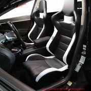 Pair Of Reclinable Sport Racing Seats Pvc Leather Black White And Slider