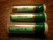 1917-pds 3 Solid Date Lincoln Wheat Cent Penny Rolls