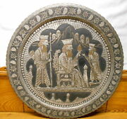 Old 4+ Lb Copper Wall Hanging Round Tray - Scene W/ Three Men - 19 1/2