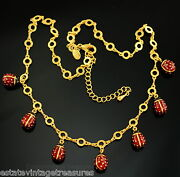 Joan Rivers Necklace Lucky 7 Ladybug Egg Red Enamel Charm Necklace New