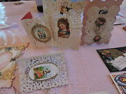1870s-80s Valentine Cards Die Cuts Victorian Paper Religious Christmas Nice