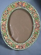 Antique Oval Dore Brass French Paste Jeweled Faux Gemstones Old Picture Frame