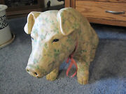 Vintage Piggy Bank Beautiful Painted Pig Bank Signed By White