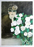 Jean Pierre Cassigneul Signed 1985 Original Color Lithograph - White Roses
