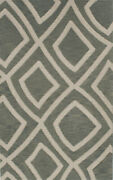 Green Transitional Hand Hooked Squares Lines Rectangles Area Rug Abstract Tr10