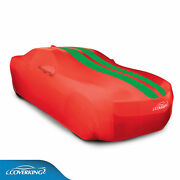Coverking Satin Stretch Car Cover Red With Synergy Green Stripes 2010-15 Camaro