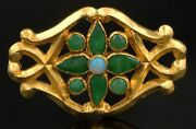 Heavy Vintage Solid 22k Yellow Gold Jade And Opal Floral Motif Estate Pin Brooch
