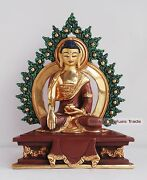 7 Shakyamuni Buddha Gold Gilded With Face Painted Statue From Patan Nepal