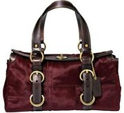 Coach Limited Edition Burgundy Wine Haircalf Stitch Patchwork Tote Bag Satchel