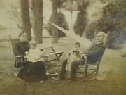 Antique Framed Photograph - Family In Rocking Chairs In Back Yard W/ Hammock
