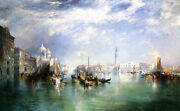 Oil Thomas Moran - Entrance To The Grand Canal, Venice And Huge Building Church