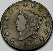 1822 Coronet Head Large Cent Choice Vf+... A Nice And Original Coin Neat Coin