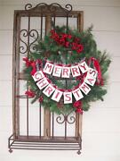 Nwt 14 Double Merry Christmas Banner Garland Ribbon Cardboard Tinsel Decoration