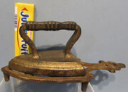 Authentic Old Cast Iron Toy Trivet And Iron With Cross Rib Handle 3 3/4 Long T11