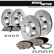 Front+rear Drill Slot Brake Rotors And Ceramic Pads For Audi Q7 Cayenne Vw Touareg