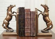 Equestrian Rearing Stallion Horses Bookends Bronze Electroplated Figurines Set
