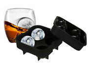 Wicked Gizmos 4 Ice Ball Mould Sphere Silicone Mould Round Tray Bpa Free Whisky