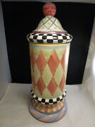 Mackenzie Childs Victoria And Richard Lidded Cylindrical Canister 1994