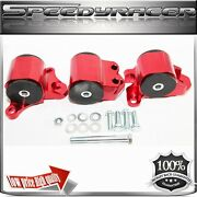 Engine Mount Kit Red For 96-00 Civic B/d Series Motor Mounts 3 Post Only