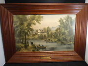 The River Side 1871 Very Rare Original Medium Lithograph By Currier And Ives
