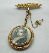 Fabulous Antique 9ct Rose Gold Double Sided Glazed Locket Brooch