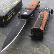 7 Wood Stiletto Spring Assisted Tactical Folding Knife Pocket Blade Assist Open